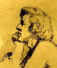 Etching of Fryderyk Chopin by Teofil Kwiatkowski;  from Frederick Niecks' biography of Chopin.