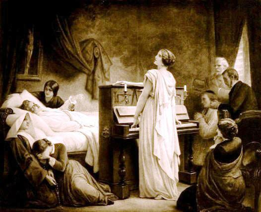 """La mort de Chopin"";  detail of a lithograph based on the painting by F�lix Barrias, Paris, 1885."