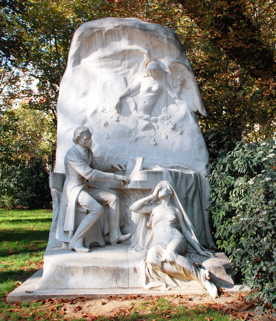 Chopin and Jenny Lind. Sculpture of Chopin by Jacques Froment-Meurice at Parc Monceau, Paris, 1906.  Provenance and meaning have been researched by Icons of Europe.