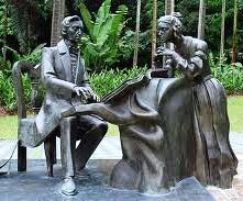 Chopin sculpture near the Symphony Lake in Singapore Botanic Gardens by the Polish sculptor Karol Badyna, 2008.  The woman resembles Jenny Lind, says Icons of Europe.