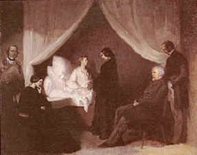 """The last moments"", painting of Fryderyk Chopin by Teofil Kwiatkowski (1849-1850 or later)."
