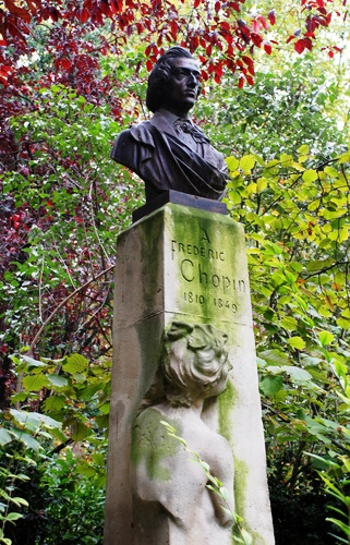 Statue of Chopin adorned by a woman resembling Jenny Lind.  Jardin du Luxembourg, Paris.