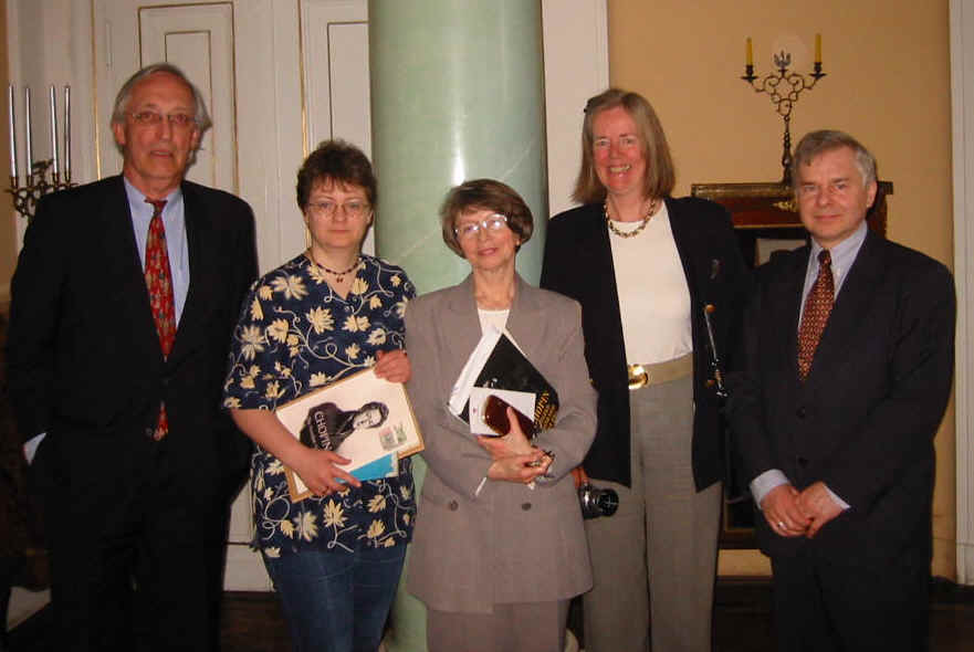 Cecilia and Jens Jorgensen meeting with The Frederick Chopin Society in Warsaw on 12 May 2003.  Mrs Hanna Wroblewska-Straus stands in the middle, Mr Albert Grudzinski, Director-General of the Society to the right.  Mrs Anna Ryszka-Komarnicka holds a printed draft trial edition of the new biography.