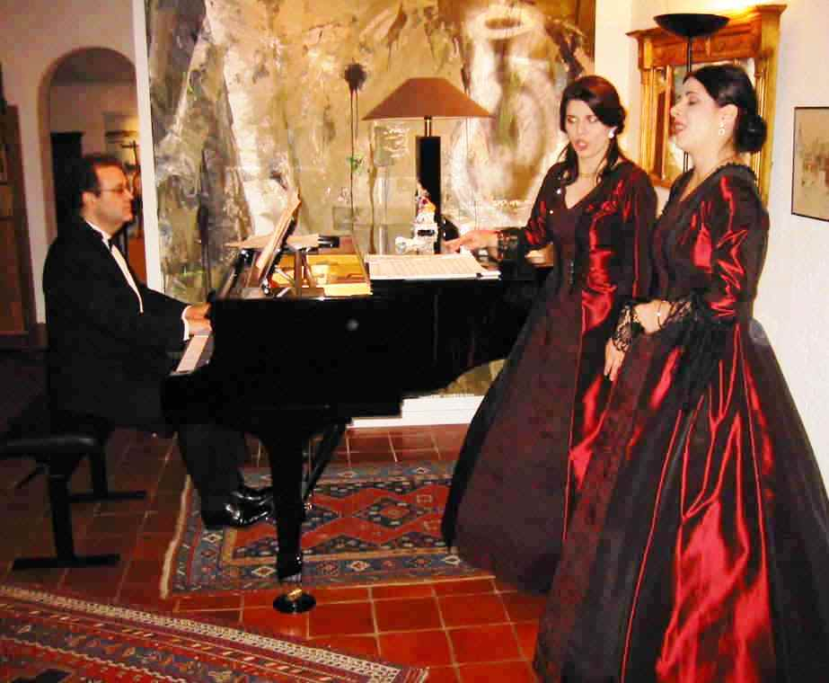 "Brussels premiere of ""The Composer and The Nightingale"" for a VIP audience on 11 October 2003:  Biljana Staffansson (soprano), Ljiljana Jovanovic (soprano), and Daniel Blumenthal (piano) in Act 4, ""Hope"" (74 Rue de Chaillot)."