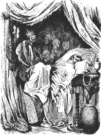 "In Hans Christian Andersen's story ""The Nightingale"", the Chinese emperor saw 'Death sitting on his chest'.  Drawing by Vilhelm Pedersen (1872)."