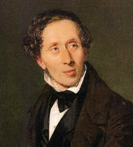 Hans Christian Andersen (1805-1875);  detail of painting by Christian Albrecht Jensen.