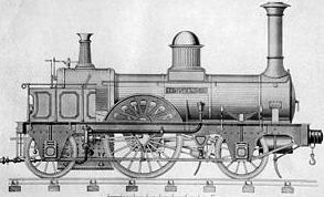 The Jenny Lind locomotive, the first of a class of ten steam locomotives built in 1847 for the London Brighton and South Coast Railway.