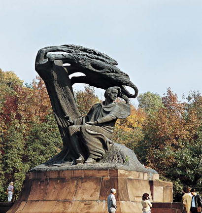According to Icons of Europe, Waclaw Szymanowski's sculpture, at Lazienki Park, Warsaw, Poland, portrays Chopin siiting under an uprooted tree as Orpheus does in Ovid poem.