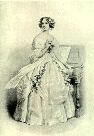 "Lithograph of Jenny Lind (1820-1887) performing one of her Scandinavian signature-songs, ""The Norwegian Echo Song"" (Act. 2, ""Magnolia"" of ""The Composer and The Nightingale"")."