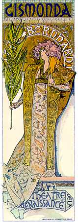 "Mucha created this poster for Sarah Bernhardt's play, ""Gismona"" in Paris, in 1895.  The near life-size design was a sensation."