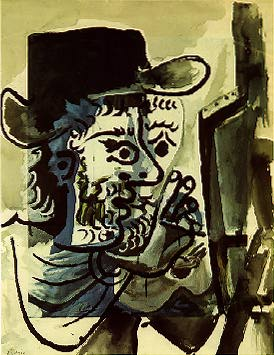 """Le peintre au travail"", 1964;  gouache by Pablo Picasso (1881-1973).  Source:  Telefónica Contemporary Art Collection.  © Pablo Picasso, VEGAP, Madrid."