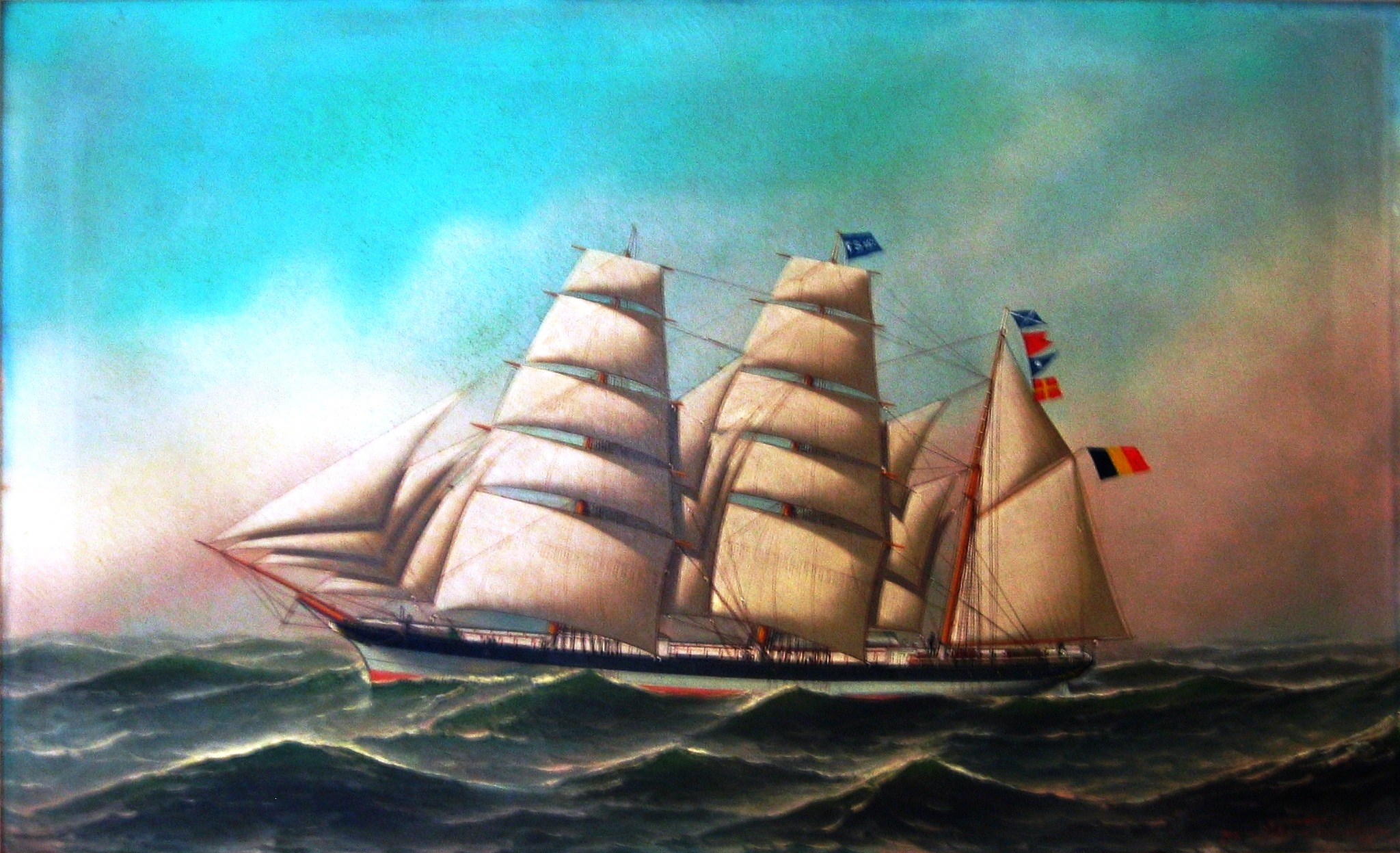 """Zeilschip Brabant"" (1888), oil painting on canvas signed by the renowned Danish / U.S. artist Antonio Jacobsen (1850-1921).  The authenticity of this 'museum piece' and six other works was established by Galerie Beaumont in April 2009."
