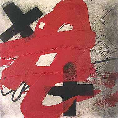 """A.T."", 1985, original etching and aquatint by Antoni Tàpies.  Born in Barcelona in 1923, Tàpies is one of the famous artists of European abstract expressionism.  His work continues to be represented at Galerie Beaumont in Lasne. Appraisal and price cost estimates of corporate art."