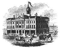 St. Lawrence Hall in 1855.  Illustration from Ballou's Pictorial Drawing-Room Companion, 21 July 1855, City of Toronto Archives, SC268-1724N.