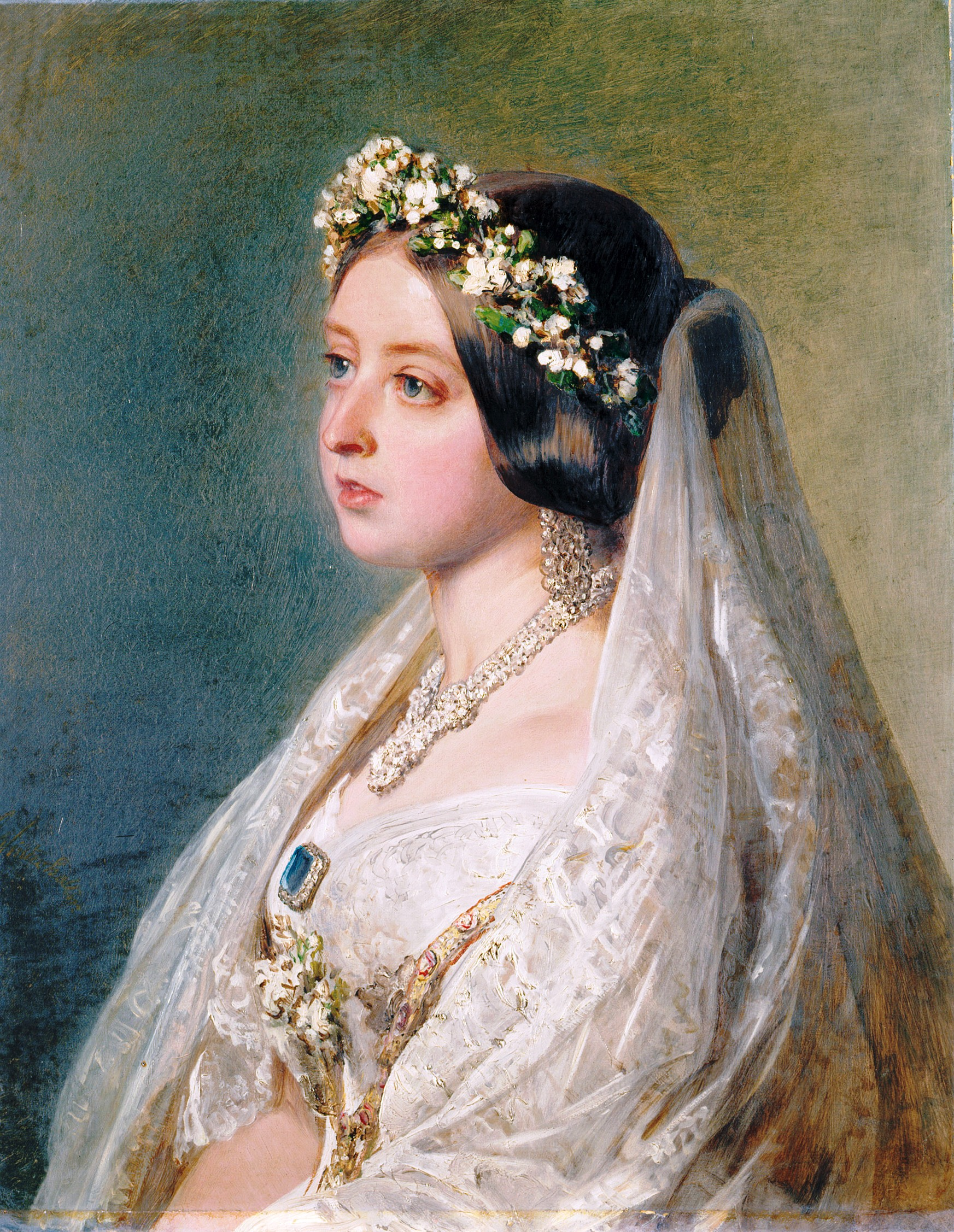 Queen Victoria by Franz Xaver Winterhalter (1847):  The Royal Collection © 2009, Her Majesty Queen  Elizabeth II.