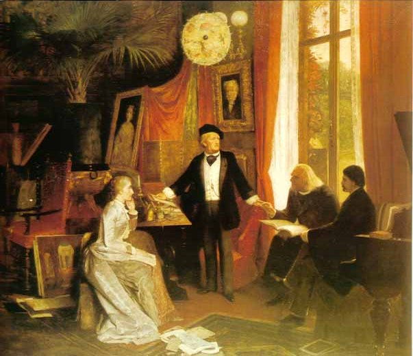 Wagner explaining his Ring cycle to this wife (Cosima Wagner née Liszt), Franz Liszt and Hans von Wolzogen.  Painting by W. Beckmann.  © Richard Wagner Museum, Luzern.