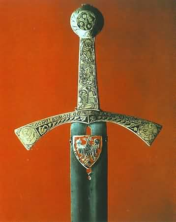 Szczerbiec, the bejewelled sword used since 1320 in the coronation ceremony of Polish kings.  Photo by Janusz Podlecki for the Royal Wawel Castle, Krakow.