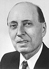 Eugene Wigner (1902–1995) was born in Budapest.  He studied at Berlin Technische Hochschule and became a U.S. citizen in 1937.  He was professor of mathematical physics at Princeton and is known for his many contributions to the theory of nuclear physics, including the law of conservation of parity.  He shared the Nobel Prize in Physics 1963.  Photo provided by The Nobel Foundation.
